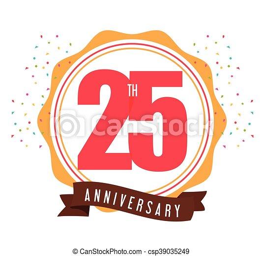 25 Year. Celebrating Anniversary. Vector graphic - csp39035249