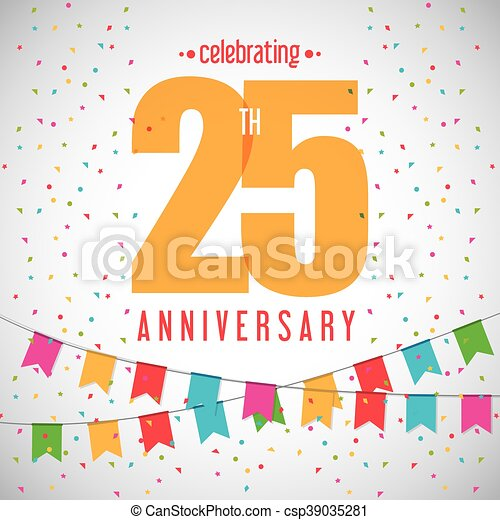 25 Year. Celebrating Anniversary. Vector graphic - csp39035281