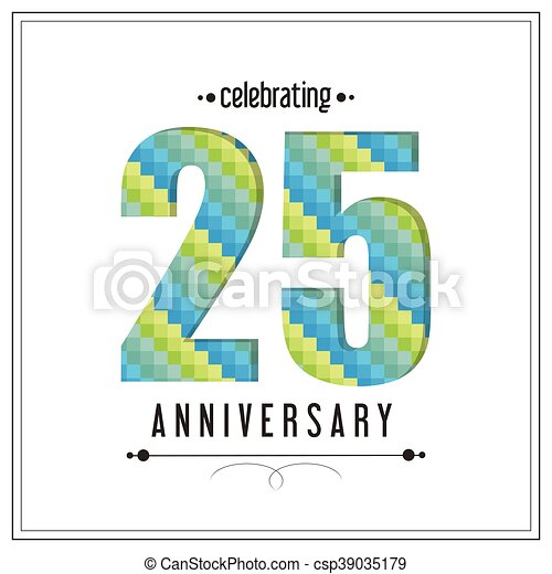 25 Year. Celebrating Anniversary. Vector graphic - csp39035179