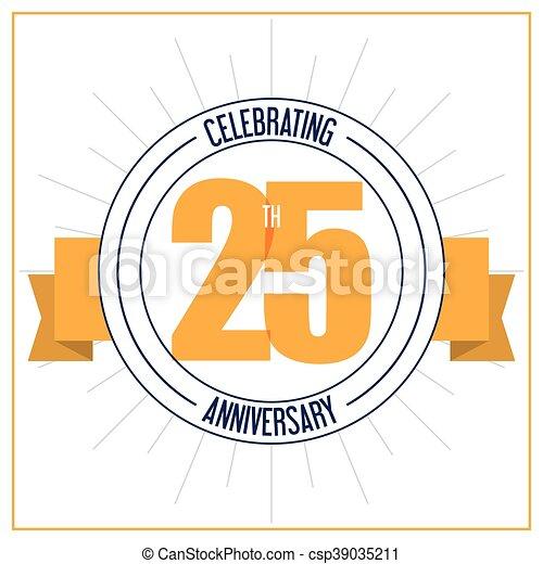 25 Year. Celebrating Anniversary. Vector graphic - csp39035211