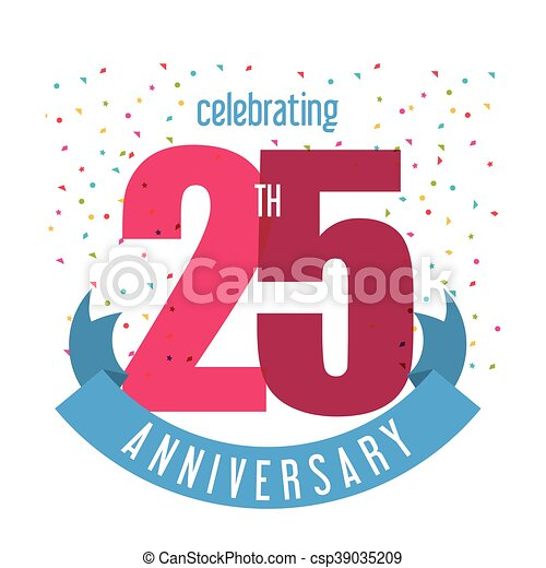 25 Year. Celebrating Anniversary. Vector graphic - csp39035209
