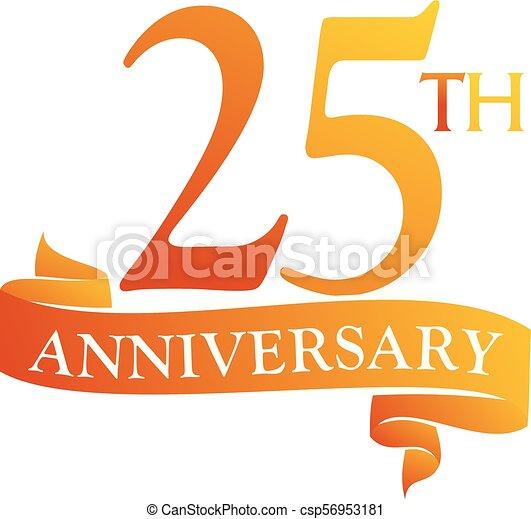 25 Year Ribbon Anniversary - csp56953181