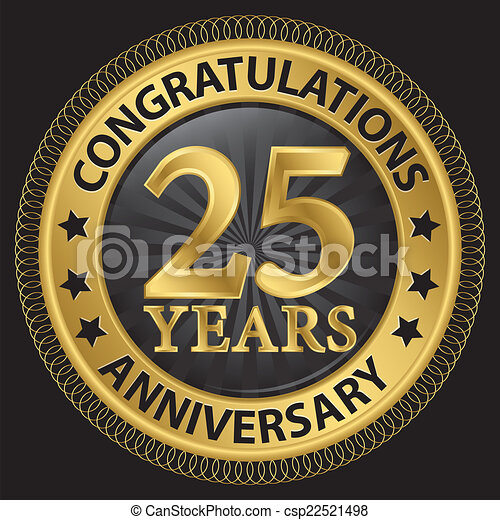 25 years anniversary congratulations gold label with ribbon, vector illustration - csp22521498