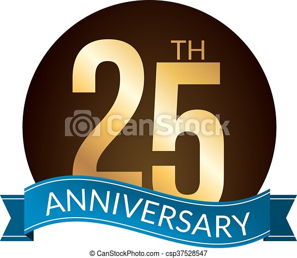 25 years anniversary experience gold label, vector illustration - csp37528547