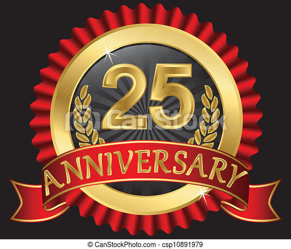 25 years anniversary golden - csp10891979