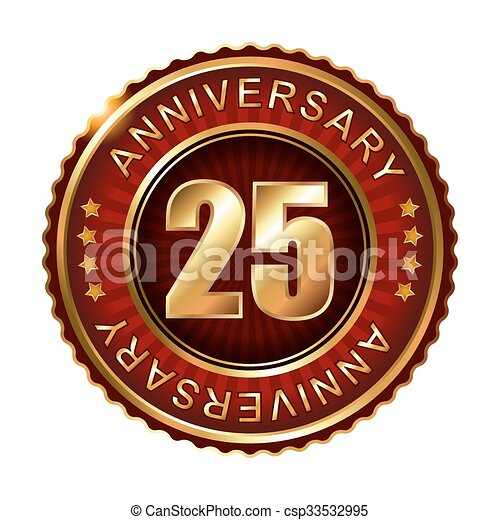 25 years anniversary golden label. - csp33532995