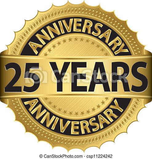25 years anniversary golden label  - csp11224242