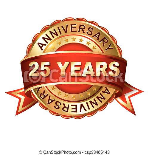 25 years anniversary golden label with ribbon.  - csp33485143