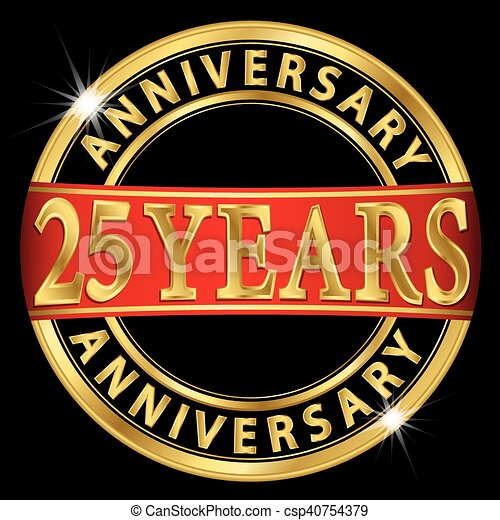 25 years anniversary golden label with red ribbon, vector illustration - csp40754379