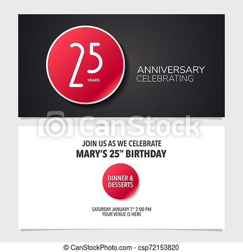 25 Years Anniversary Invitation Card Vector Illustration Double Sided Graphic Design Template