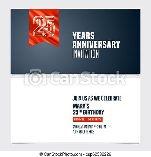 25 Years Anniversary Invitation Vector Illustration Template Design Element