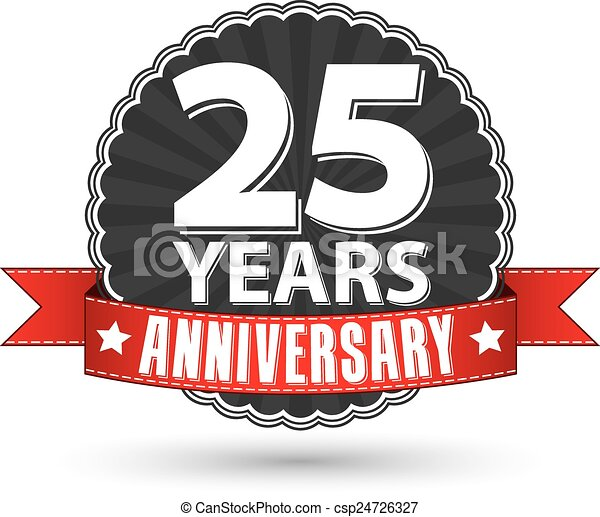 25 years anniversary retro label with red ribbon, vector illustration - csp24726327