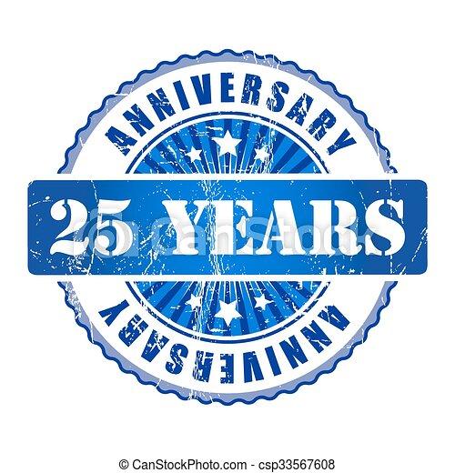 25 Years anniversary stamp.  - csp33567608
