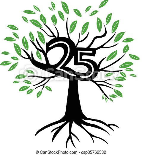 25 Years Anniversary Tree Logo - csp35762532