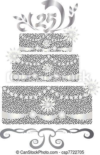 25 years celebration cake  - csp7722705