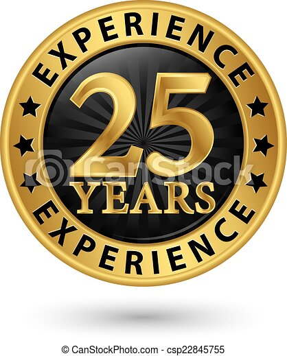 25 years experience gold label, vector illustration - csp22845755