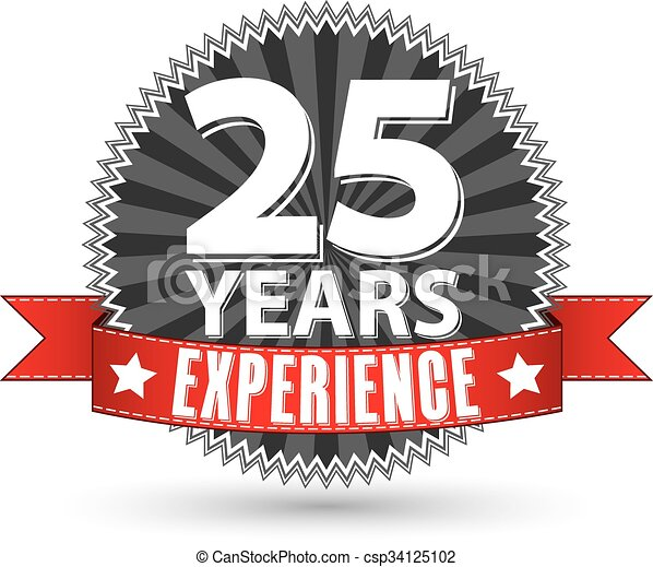 25 years experience retro label with red ribbon, vector illustration - csp34125102