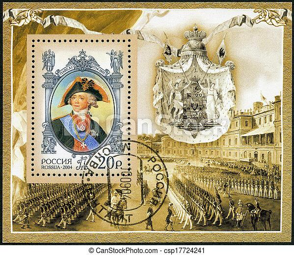 250th, dedicado, nascimento, selo, 2004:, -, aniversário, estado, imperador, história, i, 2004, russo, paul, circa, rússia, impresso - csp17724241