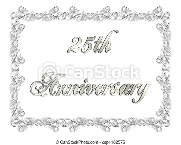 25th Anniversary Card Illustration Composition 3d Simple Design For
