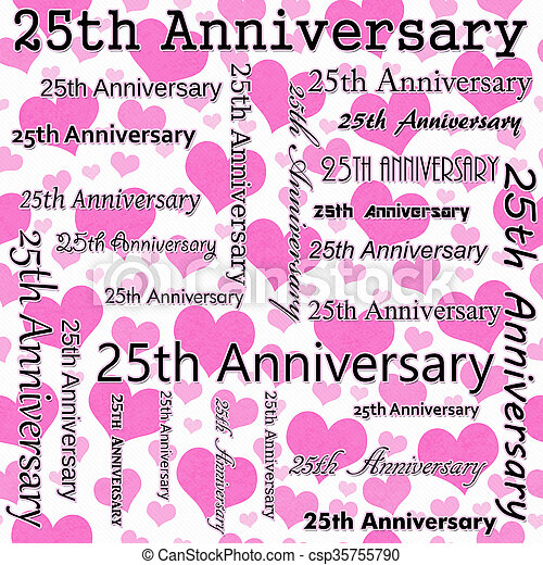 25th Anniversary Design with Pink and White Hearts Tile Pattern Repeat Background - csp35755790