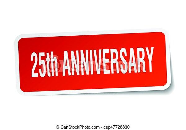 25th anniversary square sticker on white - csp47728830