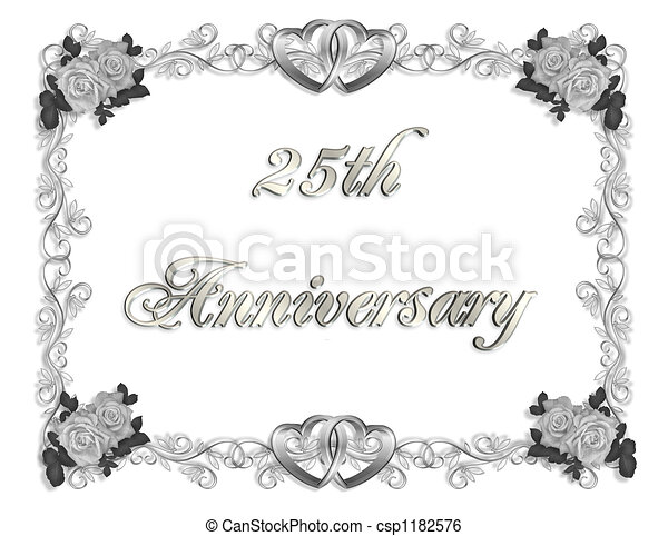 25th Anniversary Illustration Composition 3d Simple Design For 25th Anniversary Background Or Invitation With Silver Text Canstock