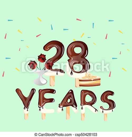 28, aniversário, anos, cartão aniversário, celebração - csp50428103