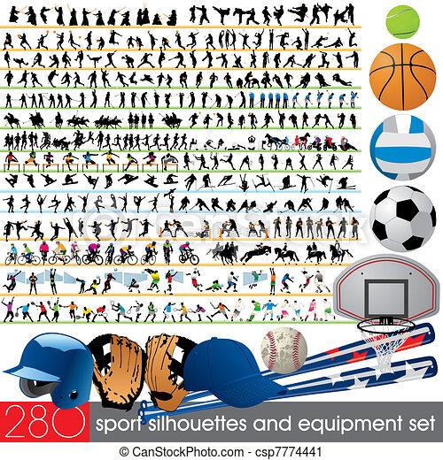 280, silhuetas, desporto, equipamento - csp7774441