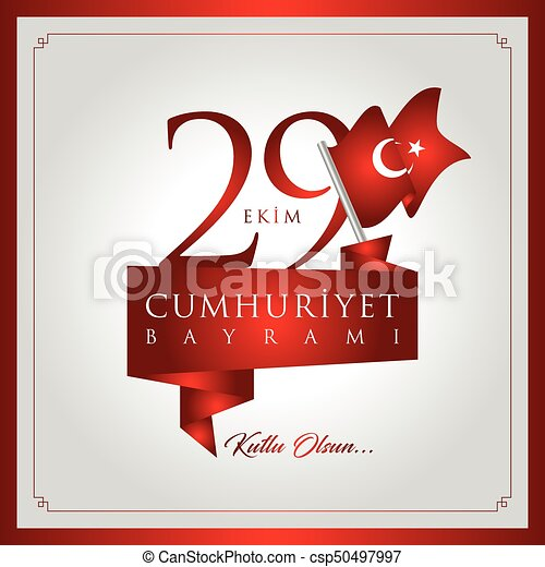 29 ekim cumhuriyet bayrami vector illustration. (29 October, Republic Day Turkey celebration card.) - csp50497997