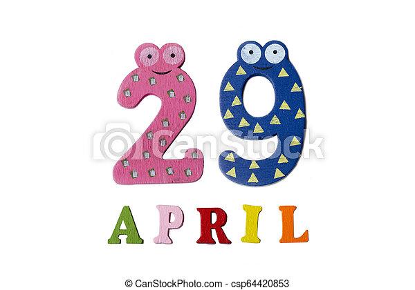 29, letters., avril, nombres, fond, blanc - csp64420853