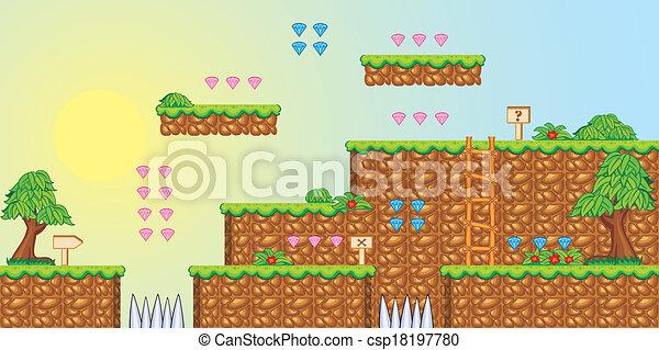 2d, プラットホーム, ゲーム, tileset, 3 - csp18197780