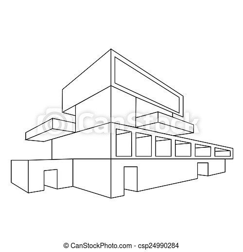 2d, Maison, Perspective, Dessin   Csp24990284