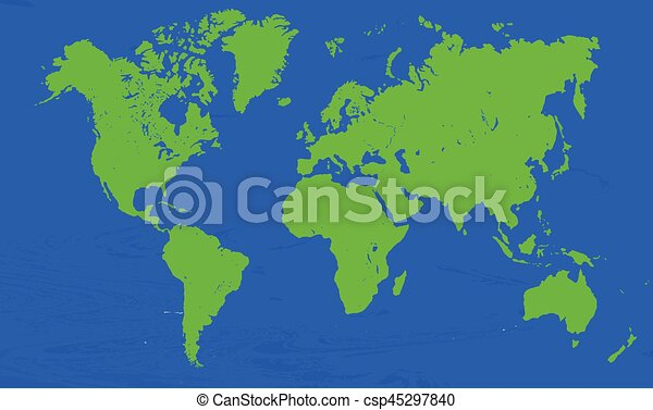 2d world map vector   blue and green colors.