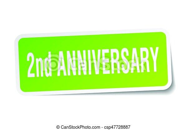 2nd anniversary square sticker on white - csp47728887