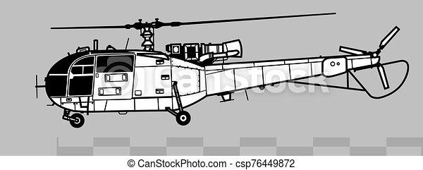 3, áttekintés, alouette, vektor, önvédelmi fegyverek, 316, 319., aerospatiale, rajz - csp76449872