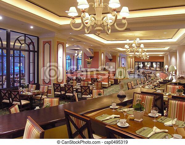 3, ホテル, 贅沢, レストラン - csp0495319