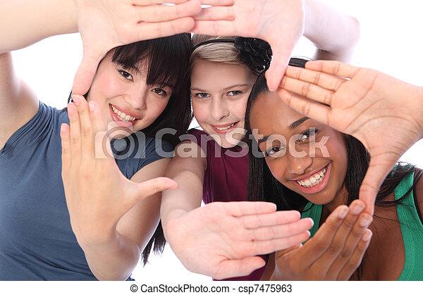 3, 文化, 学生, 民族, 楽しみ, ガールフレンド - csp7475963