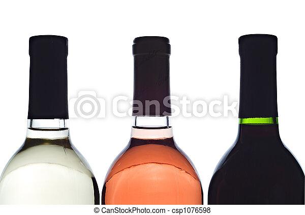 3 backlit wine bottles - csp1076598