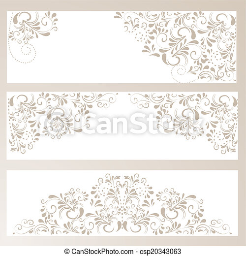 3 Banner mit Ornamenten in beige - csp20343063