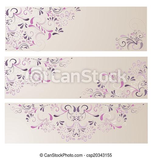 3 Banner mit Ornamenten in beige - csp20343155