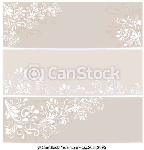 3 Banner mit Ornamenten in beige - csp20343095