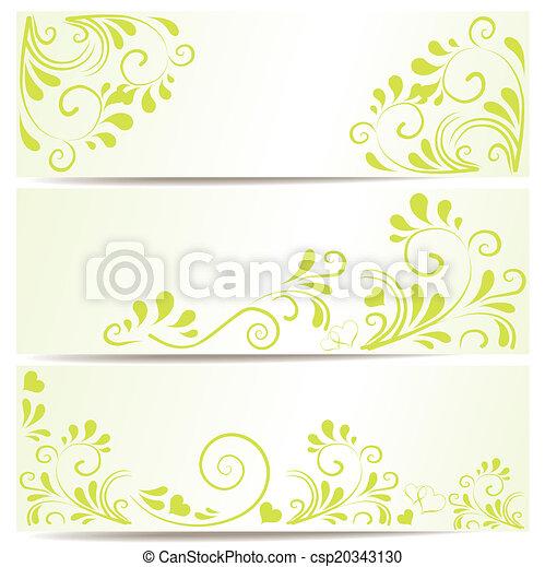 3 Banner mit Ornamenten in gr?n - csp20343130
