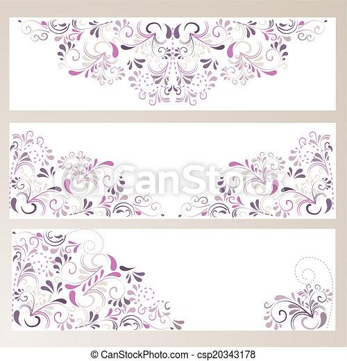 3 Banner mit Ornamenten in lila - csp20343178