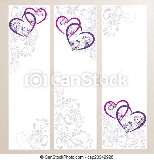 3 Banner mit Ornamenten und Herzen - csp20342928