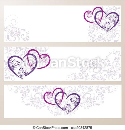 3 Banner mit Ornamenten und Herzen - csp20342875