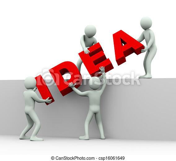 3, begreb, -, ide, folk - csp16061649
