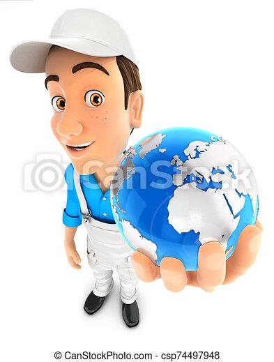 3, birtok, földdel feltölt, kék, szobafestő - csp74497948
