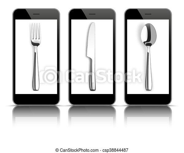 3 Black Smartphones Mirror Knife Fork Spoon - csp38844487