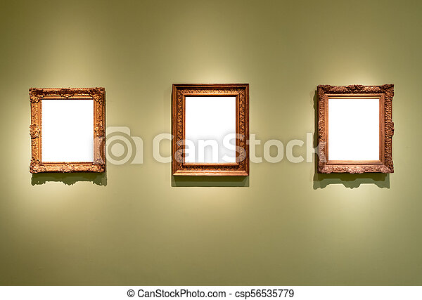 3 blank hanging individual frames in an art gallery museum - csp56535779