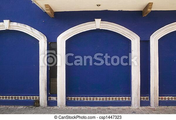 3 Blue Doors & White Trim - csp1447323